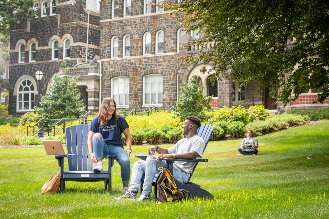 Laughing students on campus